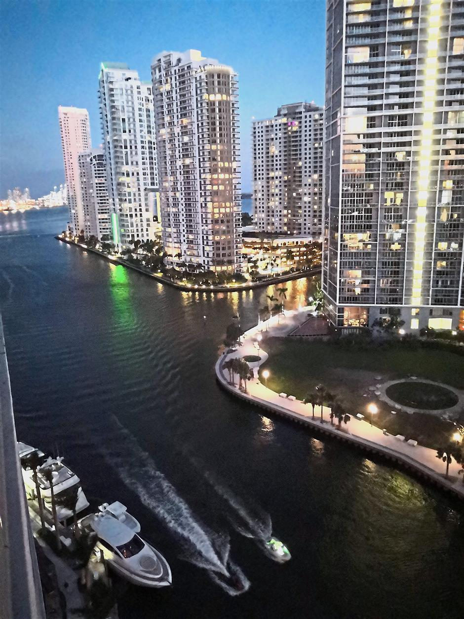 The view of Downtown Miami from Area 31, a restaurant and bar where we dined on our first night in Miami.