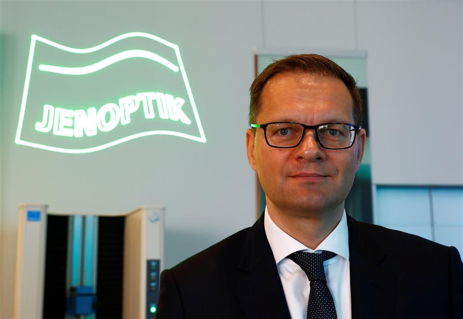 Jenoptik's CEO Stefan Traeger poses at the company's headquarters in Jena, Germany March 21, 2019. Picture taken March 21, 2019.    REUTERS/Fabrizio Bensch