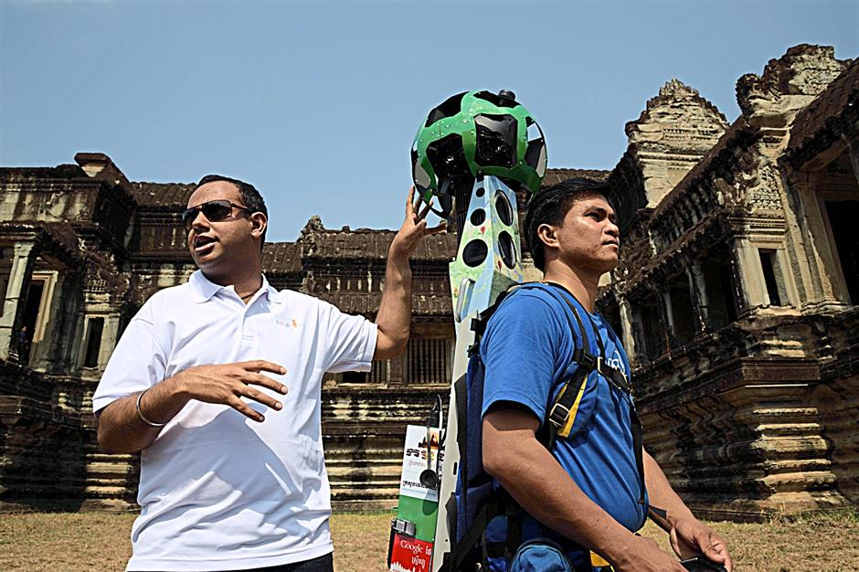 Manik Gupta, group product manager for Google Maps, explaining how the Street View Trekker, an 18Kg backpack equipped with 15 lenses, works to capture 360-degree views in areas inaccessible to vehicles