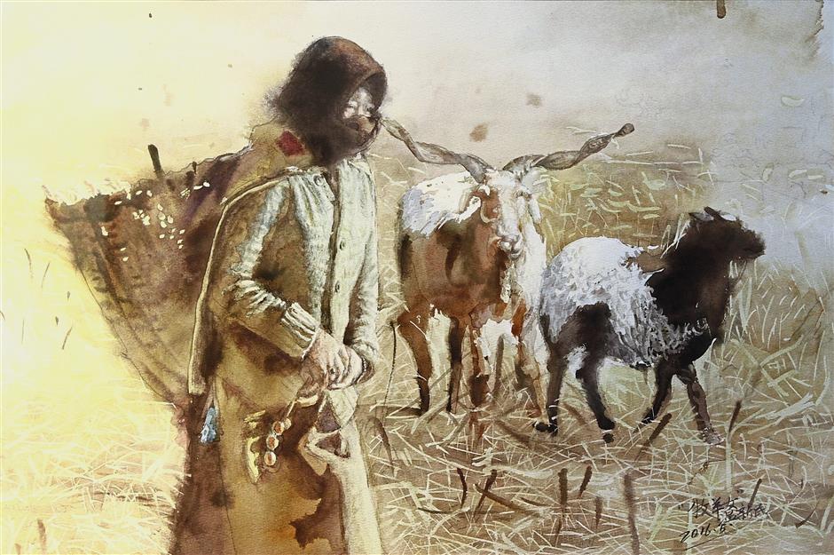 Wen's 'Shepherdess' illustrates the simplicity of village life.