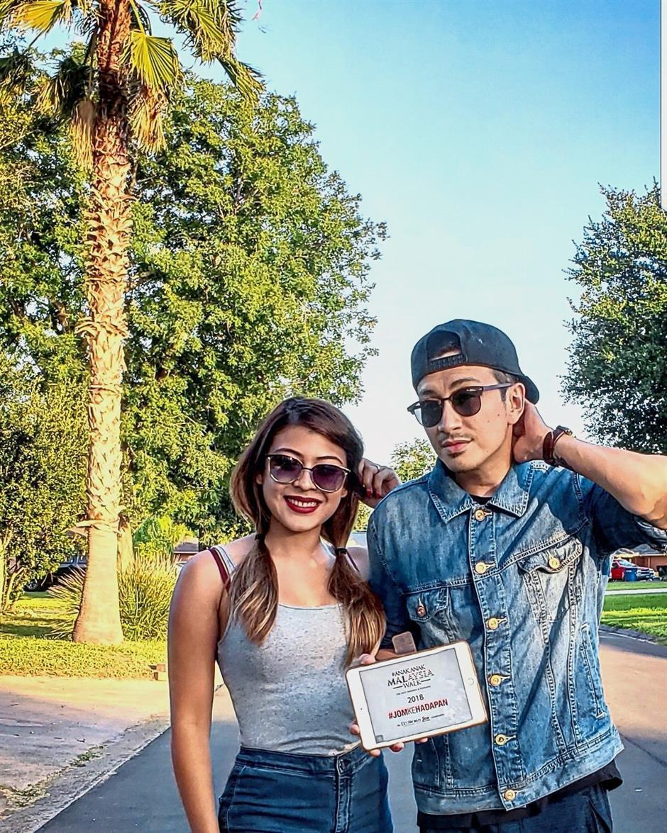 Malaysia on their minds: Sofea and Gideon in Corpus Christi, Texas.