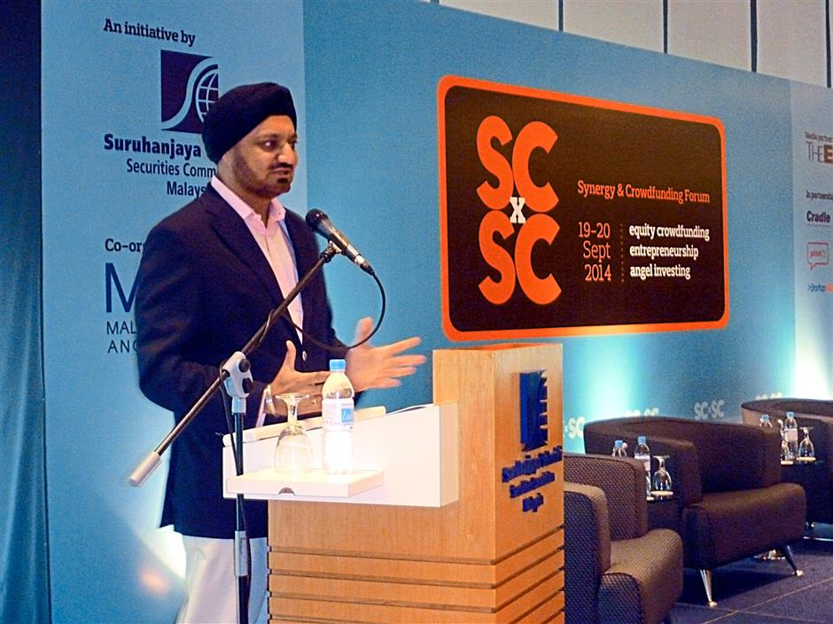 Ranjit speaking to the audience of about 600 people at the Securities Commission Synergy and Crowdfunding Forum.