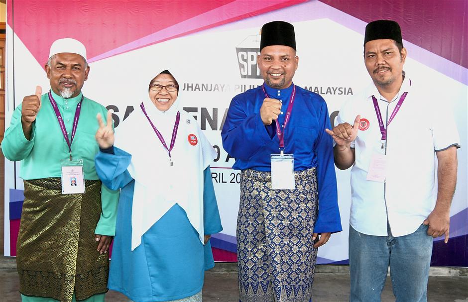 Candidates for the Lembah Jaya state seat (from left) Khasim, Haniza, Muhamad Nizam and Norizwan.