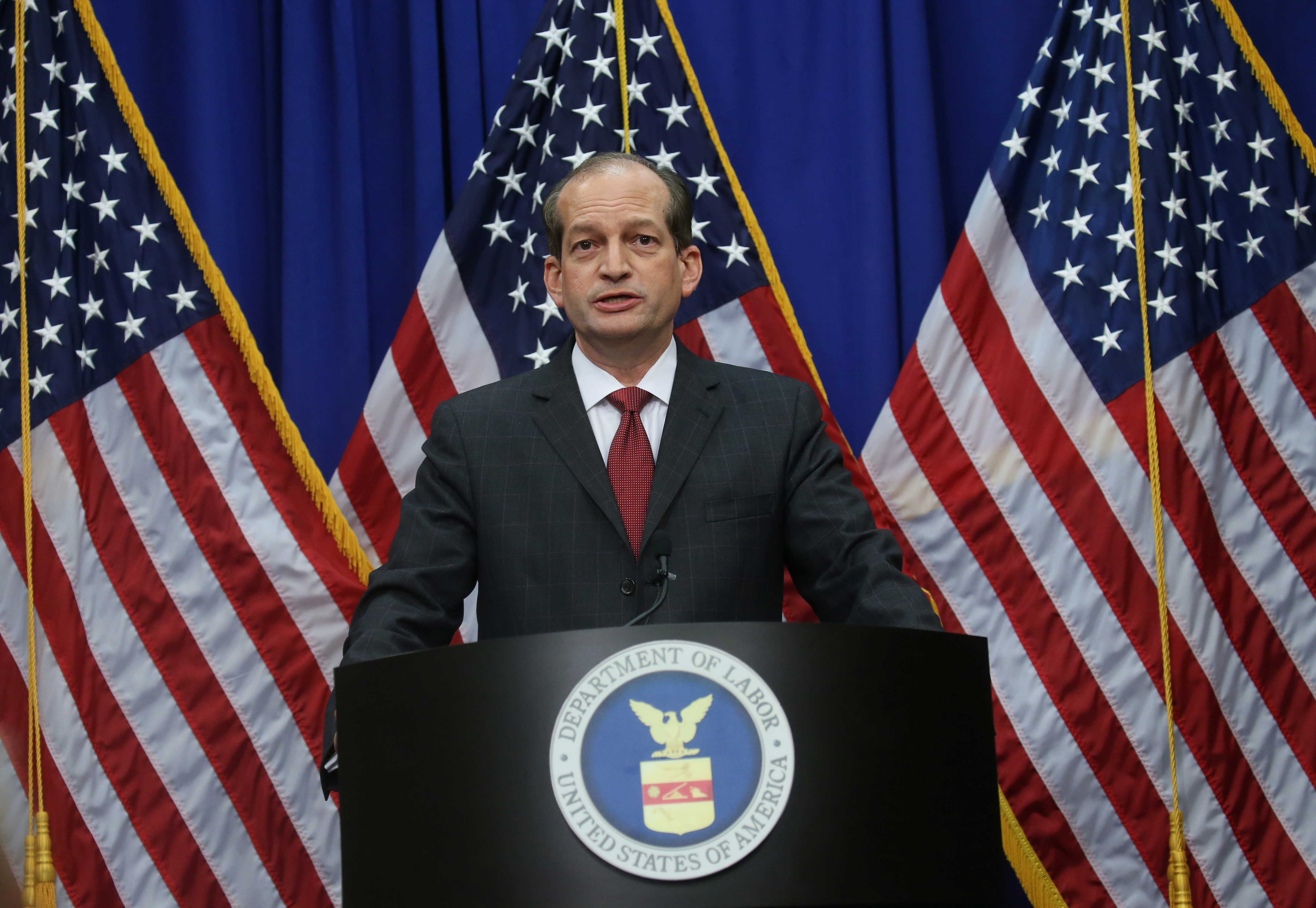 U.S. Labor Secretary Alexander Acosta makes a statement on his involvement in a non-prosecution agreement with financier Jeffrey Epstein, who has now been charged with sex trafficking in underage girls, during a news conference at the Labor Department in Washington, U.S., July 10, 2019. REUTERS/Leah Millis
