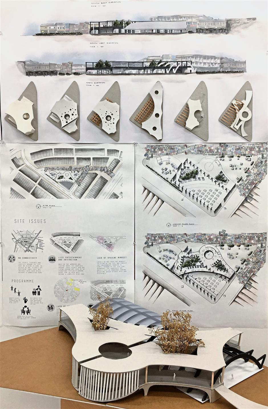 Student Ching Wee Han's design and scale model of Pudu Market.