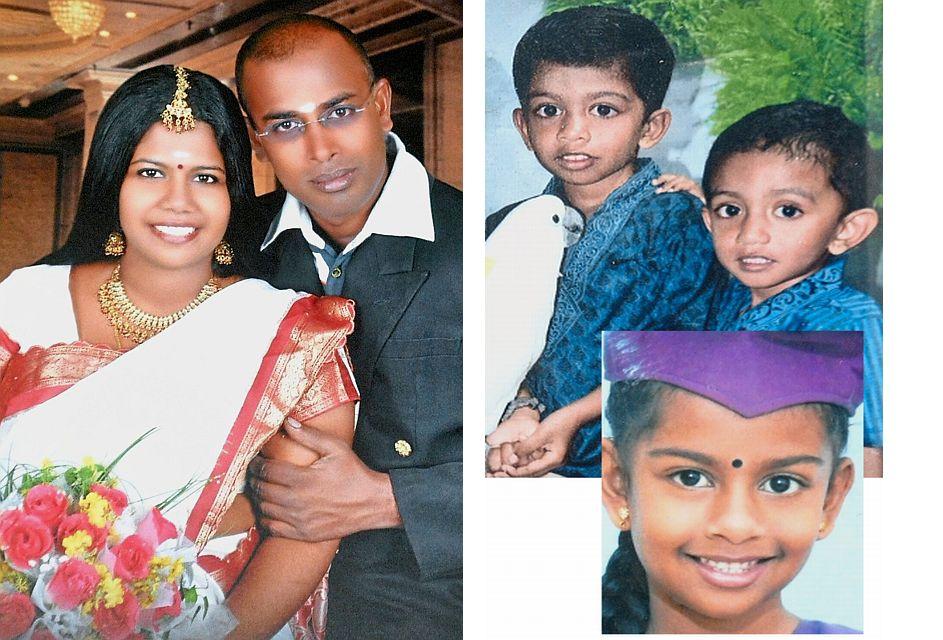 Beyond tragic: Saivarau and wife and their children (clockwise from left) Sashrin, Raghu and Yamuna.