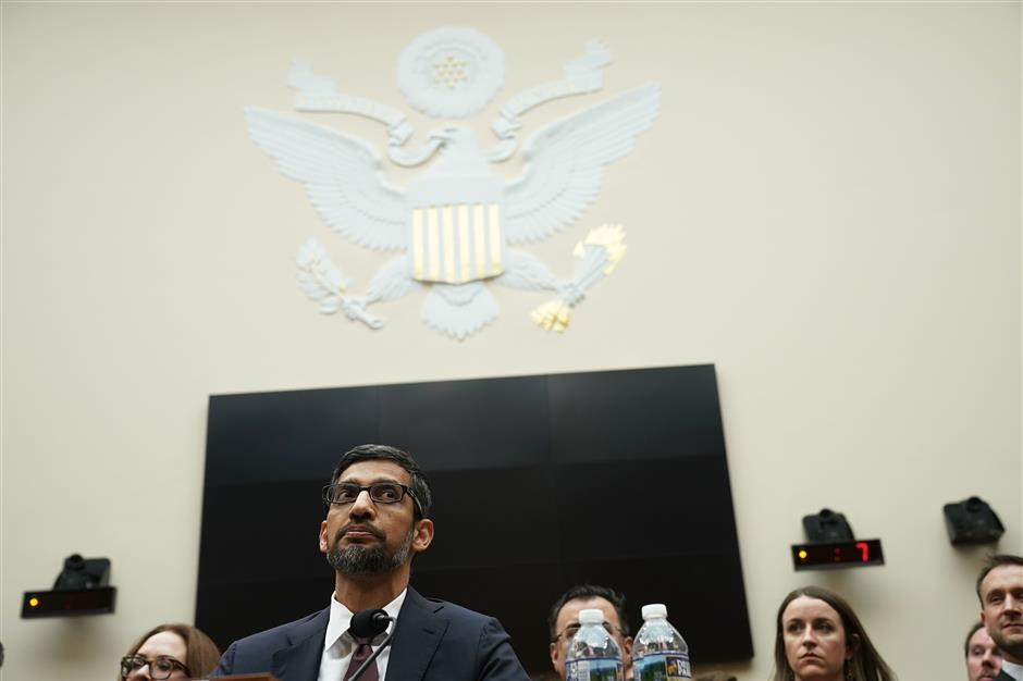 WASHINGTON, DC - DECEMBER 11: Google CEO Sundar Pichai testifies before the House Judiciary Committee at the Rayburn House Office Building on December 11, 2018 in Washington, DC. The committee held a hearing on \'Transparency & Accountability: Examining Google and its Data Collection, Use and Filtering Practices.   Alex Wong/Getty Images/AFP == FOR NEWSPAPERS, INTERNET, TELCOS & TELEVISION USE ONLY ==