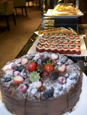 <b>Sweet temptation:</b> A galore of desserts are available at the buffet table.