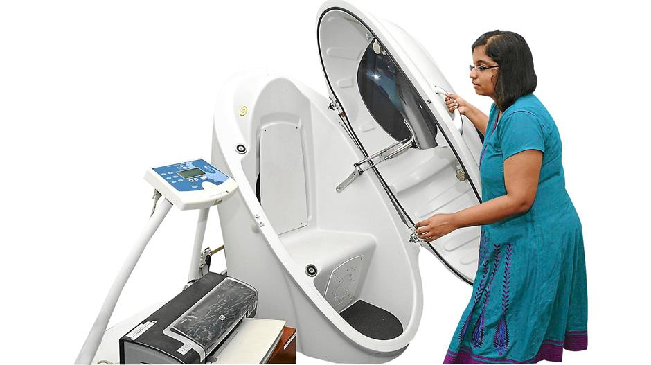 Space age equipment: The BodPod machine is  used to accurately measure an athletes body composition and weight.