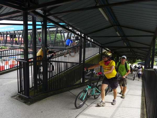Cyclists can push their bikes up this pedestrian bridge near Damansara Kim, PJ.