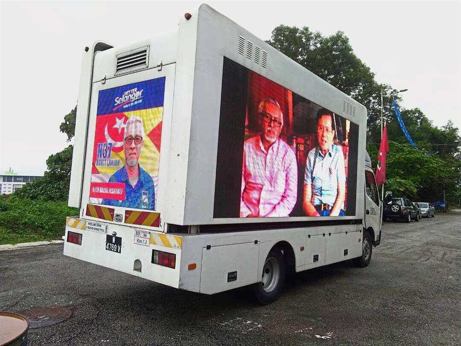 Another form of reaching out to voters is through advertisement truck such as this.