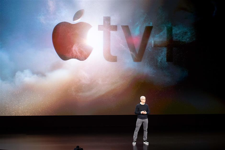 Apple CEO Tim Cook speaks during an event launching Apple tv+ at Apple headquarters on March 25, 2019, in Cupertino, California. (Photo by NOAH BERGER / AFP)
