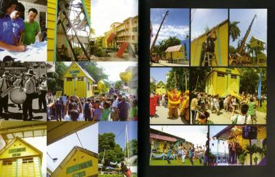A sample spread from the Events section in the book shows the 2011 art installation Projek Angkat Rumah (Project Carry House) that moved a kampung house 1.3km in Sentul, KL.