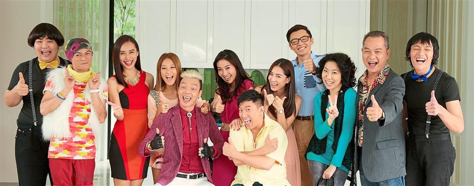 The cast of King Of Mahjong with Lee (fifth from left) and Chapman To (sixth from right).