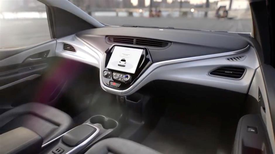 GM\'s planned Cruise AV driverless car features no steering wheel or pedals in a still image from video released January 12, 2018. General Motors/Handout via REUTERS. ATTENTION EDITORS - THIS IMAGE WAS PROVIDED BY A THIRD PARTY. NO SALES, NO ARCHIVES.
