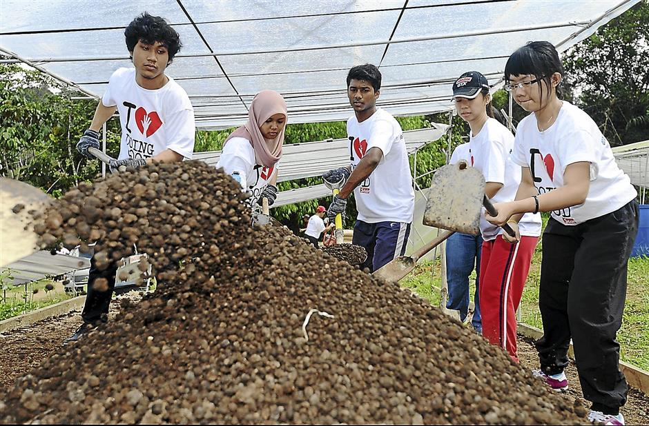 The hardworking volunteers are getting the soil ready to plant the vegetables during the Good Day Out on Oct 19.