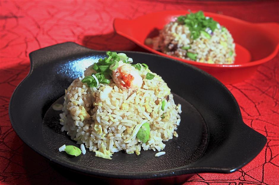 Lobster Meat Fried Rice with Edamame and Fresh Mushroom.