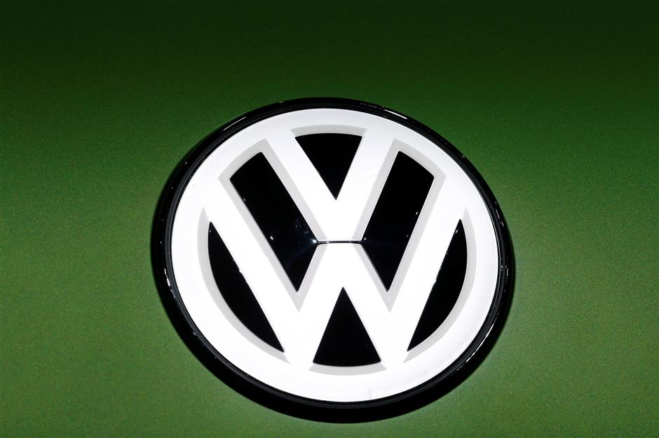 A Volkswagen logo is seen on a new car model at the 89th Geneva International Motor Show in Geneva, Switzerland March 5, 2019. REUTERS/Denis Balibouse