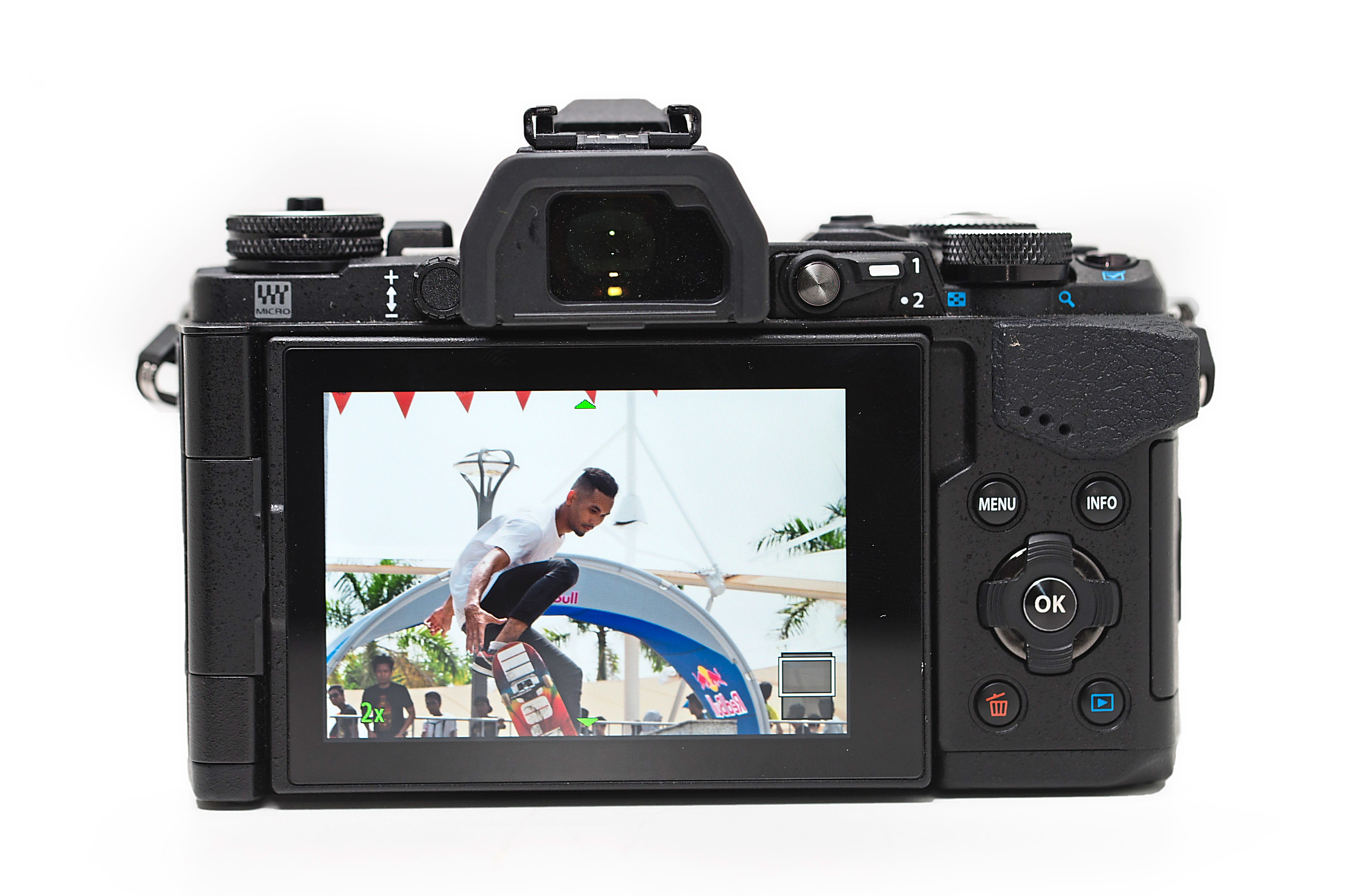 More buttons: the 3in LCD on the OM-D E-M5 Mark II is touch sensitive