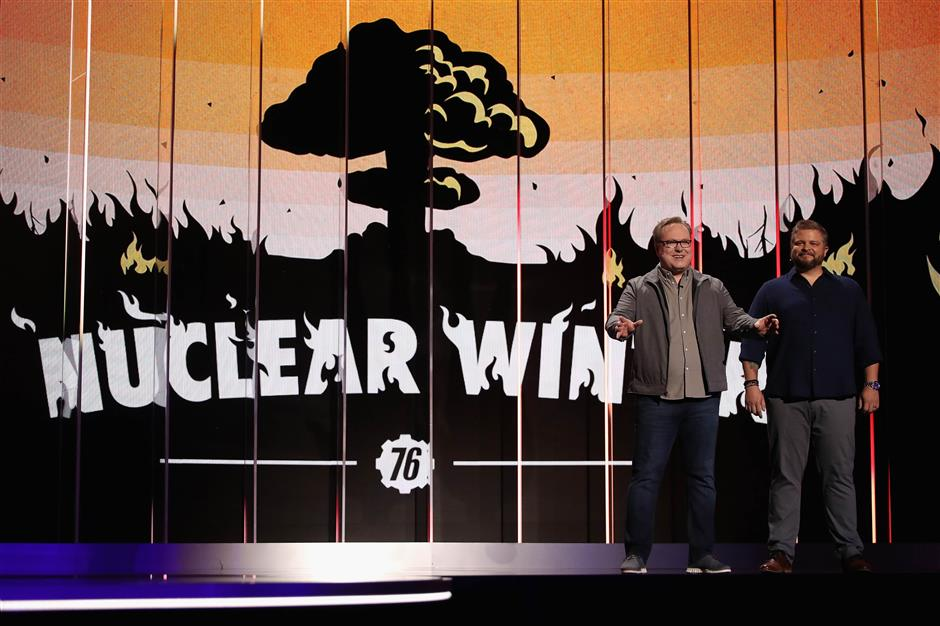 LOS ANGELES, CALIFORNIA - JUNE 09: (L-R) Tom Mustaine, Co-Studio Director at Bethesda Game Studios, and Jeff Gardiner, Project Lead at Bethesda Game Studios, speak about \'Fallout 76\' during the Bethesda E3 Showcase at The Shrine Auditorium on June 09, 2019 in Los Angeles, California.   Christian Petersen/Getty Images/AFP == FOR NEWSPAPERS, INTERNET, TELCOS & TELEVISION USE ONLY ==