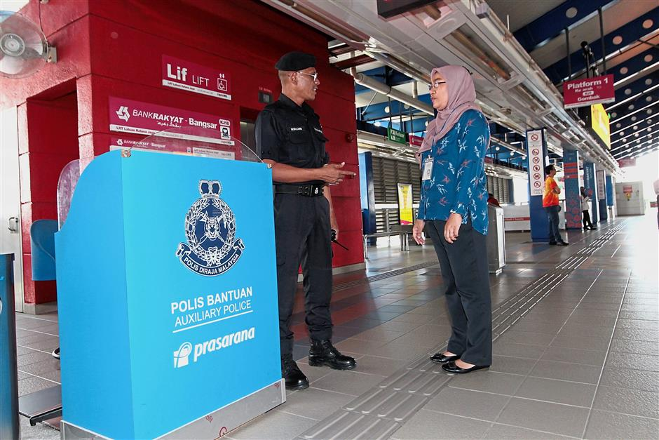 Prasarana has 1,185 auxiliary police to patrol the trains and bus stations.