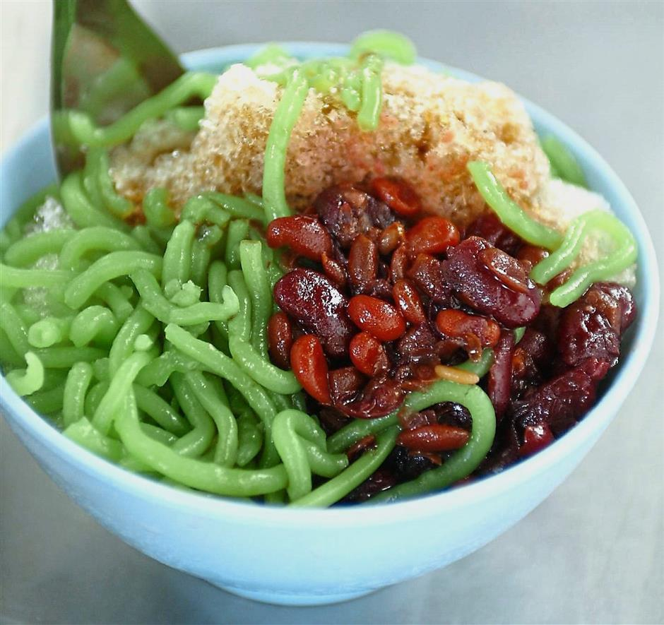 The icy cool sweet cendol is a perfect thirst-quencher at the Penang Road Famous Teochew Chendul stall in Lebuh Keng Kwee, George Town.