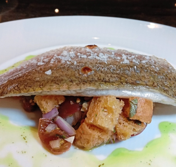 Pan-Seared Barramundi and Mint Panzanella.