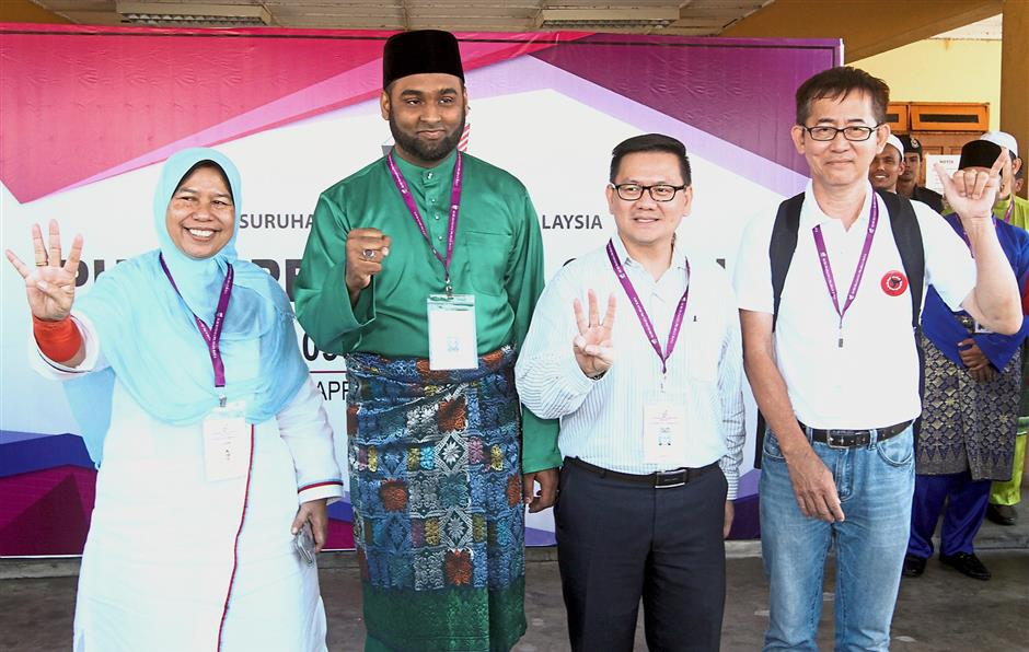 Candidates for the Ampang parliamentary seat (from left) Zuraida, Nurul Islam, Leong and Tan.