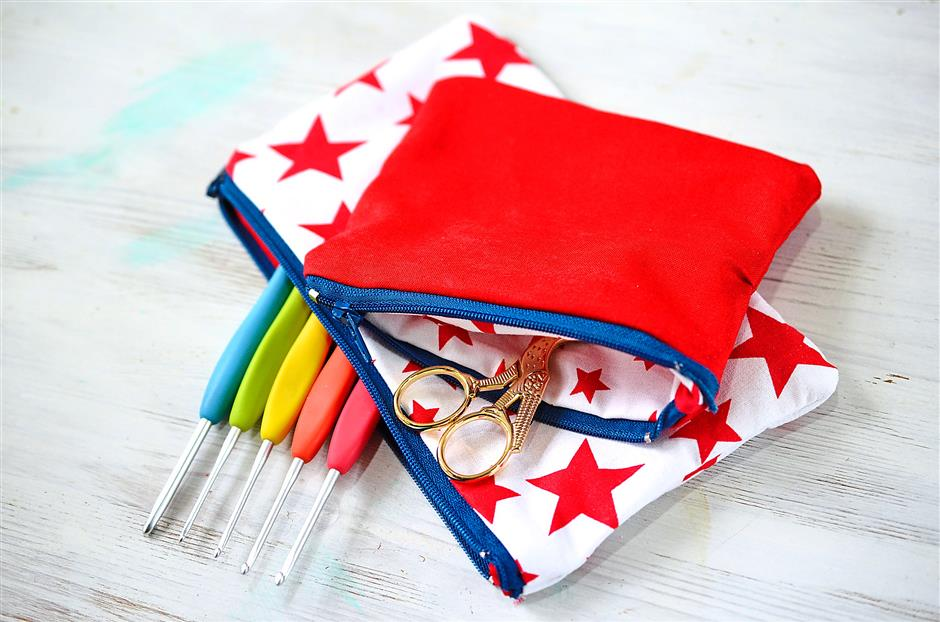 The sewing machine may just be your best friend for whipping up fun fabric crafts, like this easy zippered pouch.