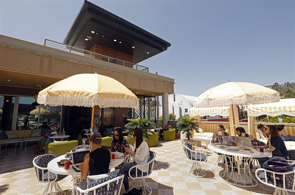 The outdoor patio at the newly opened Wing co-working space in West Hollywood, Los Angeles. (Carolyn Cole/Los Angeles Times/TNS)