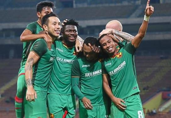 Nice job: Selangoru2019s Ifedayo Olesegun (third from left) celebrating with teammates after scoring the second goal against PKNS in the Super League match at the Shah Alam Stadium on Saturday. u2014 IZZRAFIQ ALIAS / The Star