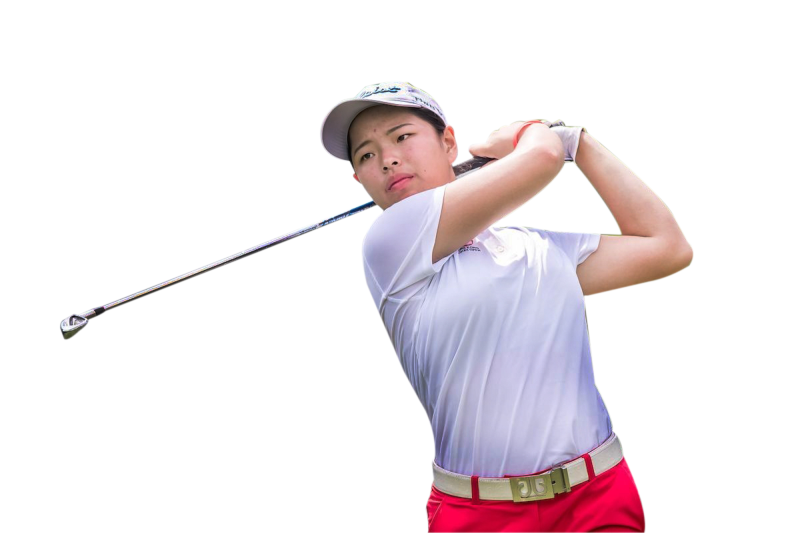 Winnie in action at Hong Kong Golf Club in Fanling.