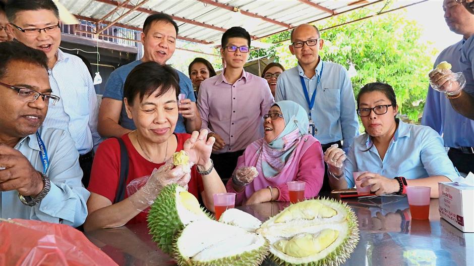 Staff members of Pantai Hospital Penang enjoying the durians at Lim Brothers Orchard in Balik Pulau.