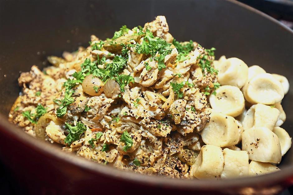 Chicken Stroganoff with Potato Gnocchi.