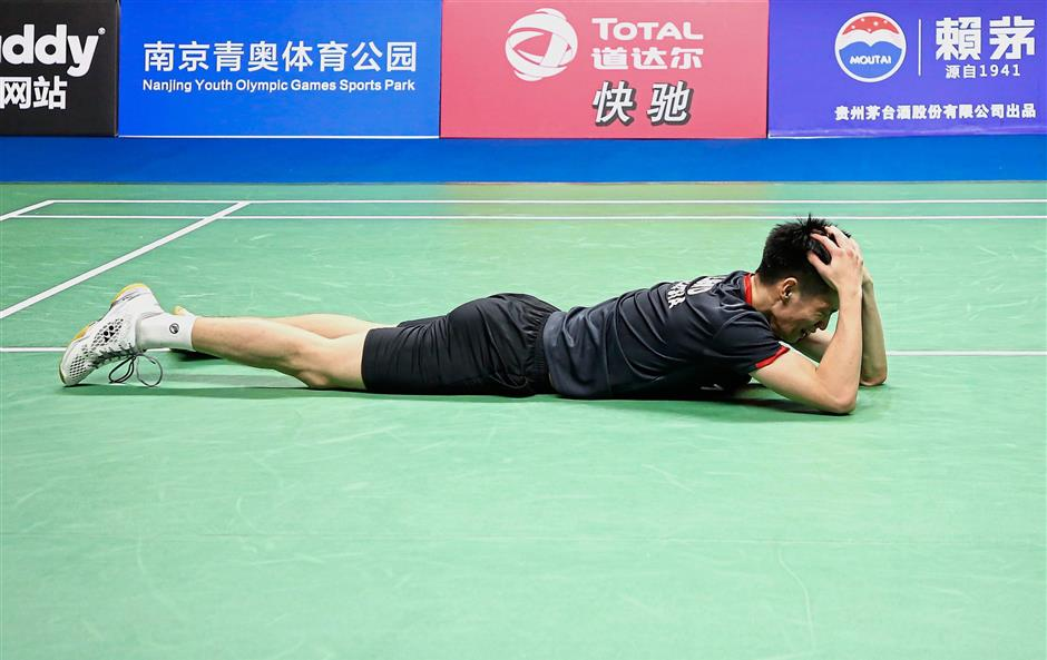 Simply unbelievable : Malaysian Liew Daren react after edging out Japan's Kanta Tsuneyama 22-20, 21-23, 22-20 to reach the semi-finals at the Nanjing Youth Olympic Games Sports Park Arena yesterday.