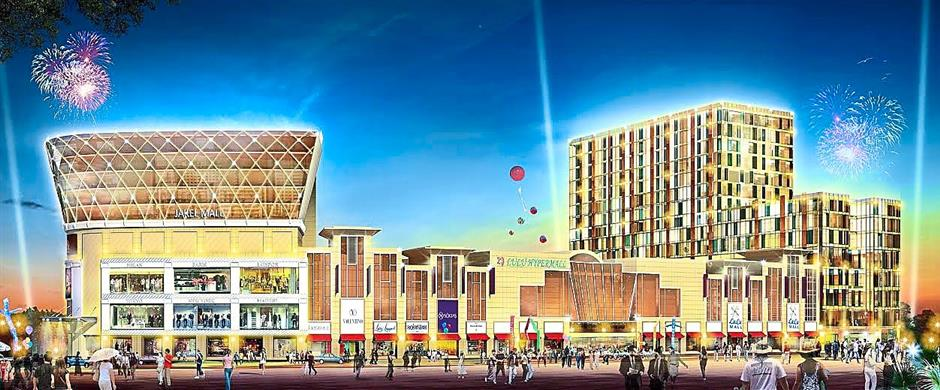 Artist's impression of Jakel Square comprising Jakel Mall (left building) and a four-star hotel.