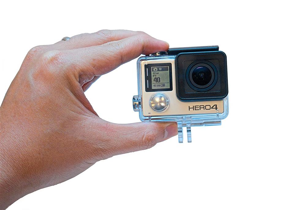 Still compact: The Hero4 Silver in the waterproof casing.