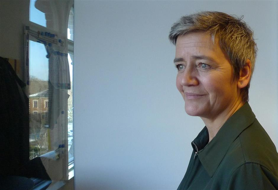 The European Unionu2019s competition commissioner, Margrethe Vestager, poses during an interview Monday Jan. 14, 2019, in Copenhagen, Denmark. Vestager has challenged big Silicon Valley companies such as Google and Apple with high profile cases, and is laying the groundwork for intensified scrutiny of tech firms as she prepares to end her term in office in late 2019. (AP Photo / Kelvin Chan)