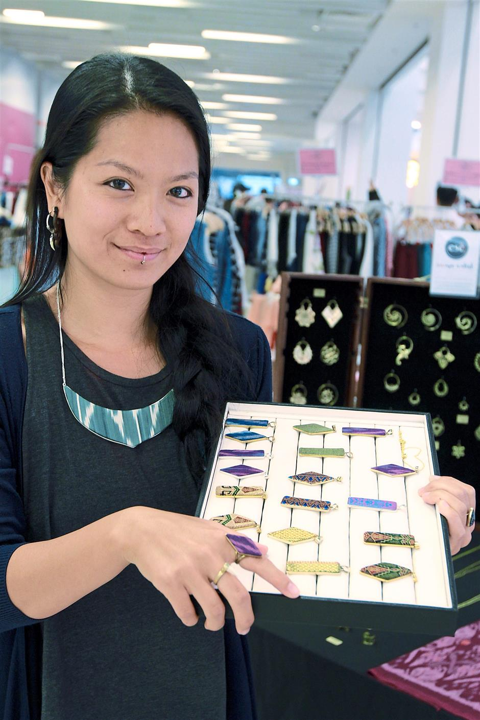 Fiona Eng, 29, founder and creator of Escape Artist Collective, showing her Woven collection.