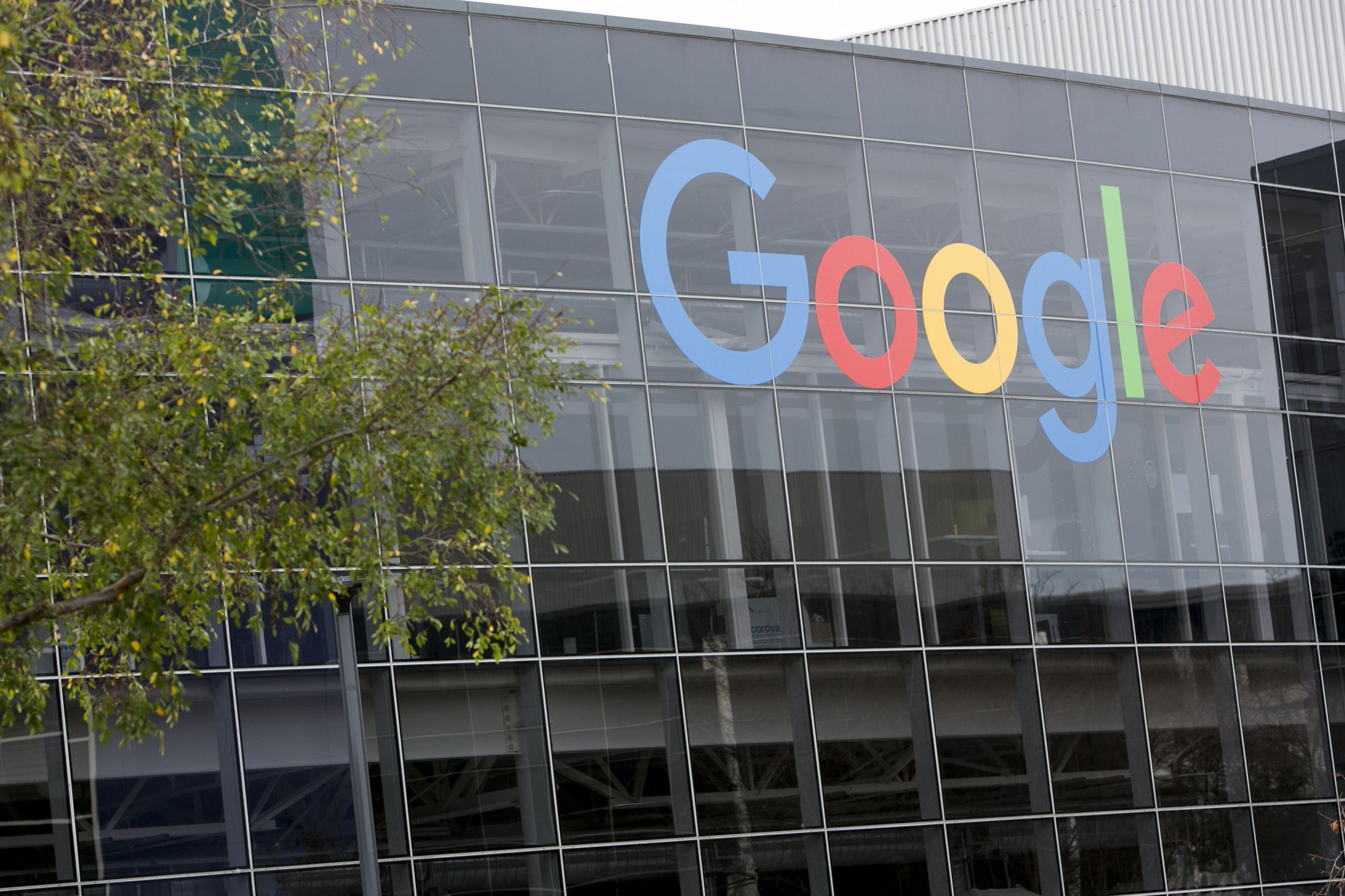A logo sign outside of the headquarters of Google on Jan. 24, 2016 in Mountain View, Calif. (Kristoffer Tripplaar/Sipa USA/TNS)