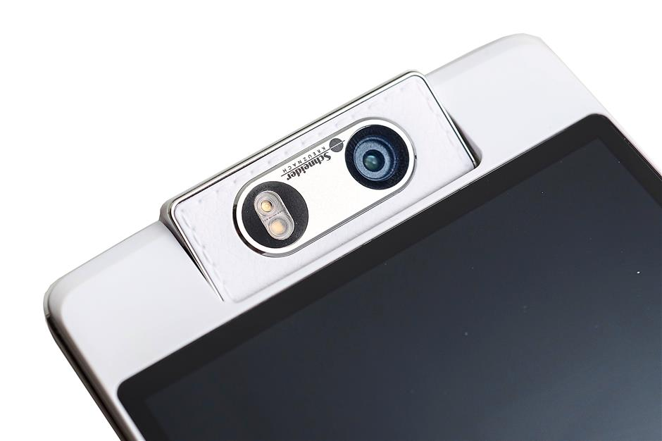 The 16-megapixel motorised camera doubles up as both the front and back camera.
