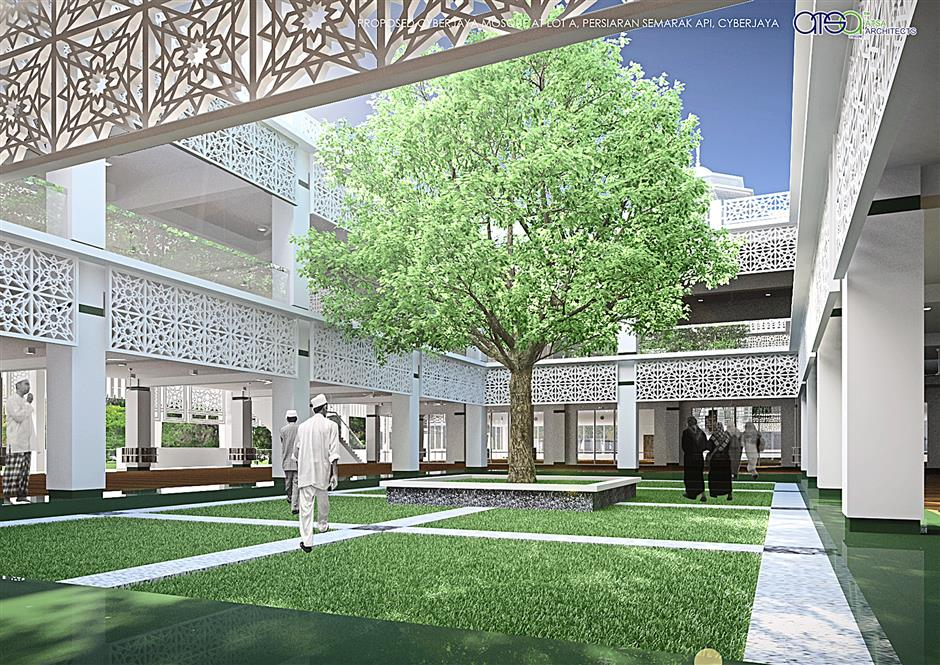 Just beyond the main prayer hall of the green mosque being build in Cyberjaya is an open courtyard that provides relief to the eye as well as natural lighting into the deeper part of the building. Photo courtesy of ATSA Architects