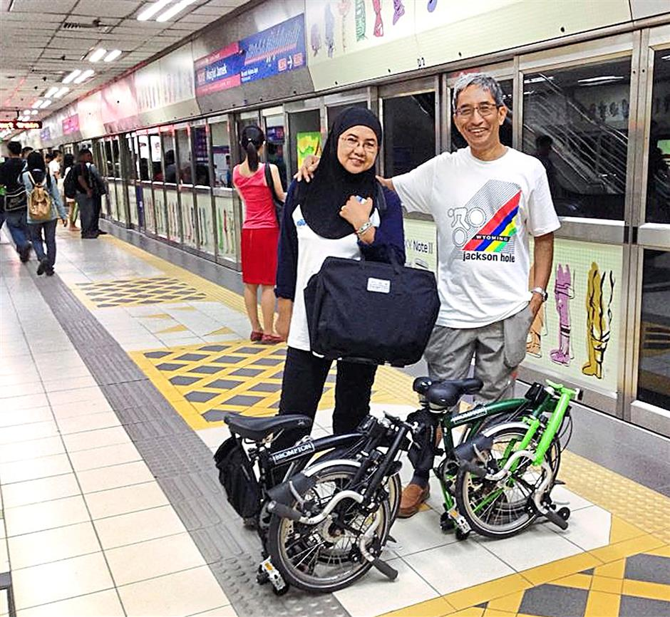 Moslim Othman and his family take his Bromptons everywhere.