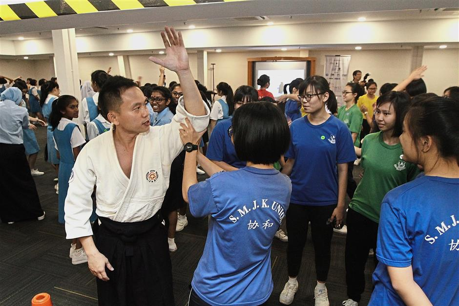 Students attending the self-defence workshop conducted by North Akido.