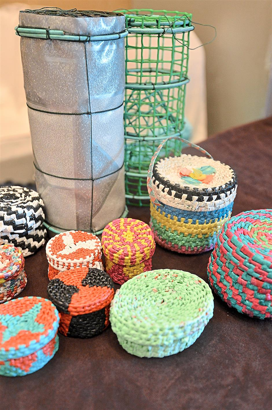 Some of this attractive souvenirs that was created from discarded items seen here.