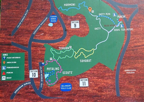 A map of the various trails in Kota Damansara Community Forest. Some are shared between mountain bikers and hikers while others are exclusively for hikers.