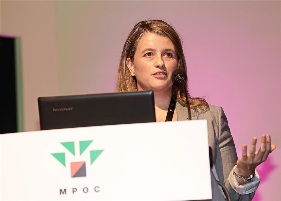 Cargill policy and government relations officer Marta Zuluaga Zibermann presented an insightful talk on the issues faced by palm oil in the EU. — Photo from Malaysian Palm Oil Council