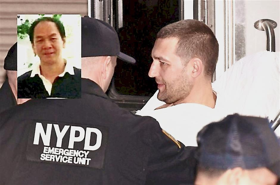 Brutal: Martunovich smiling as New York police whisk him away on a stretcher. Inset: A picture of Ng, one of two people killed by Martunovich, who was armed with a hammer, at a Brooklyn restaurant.