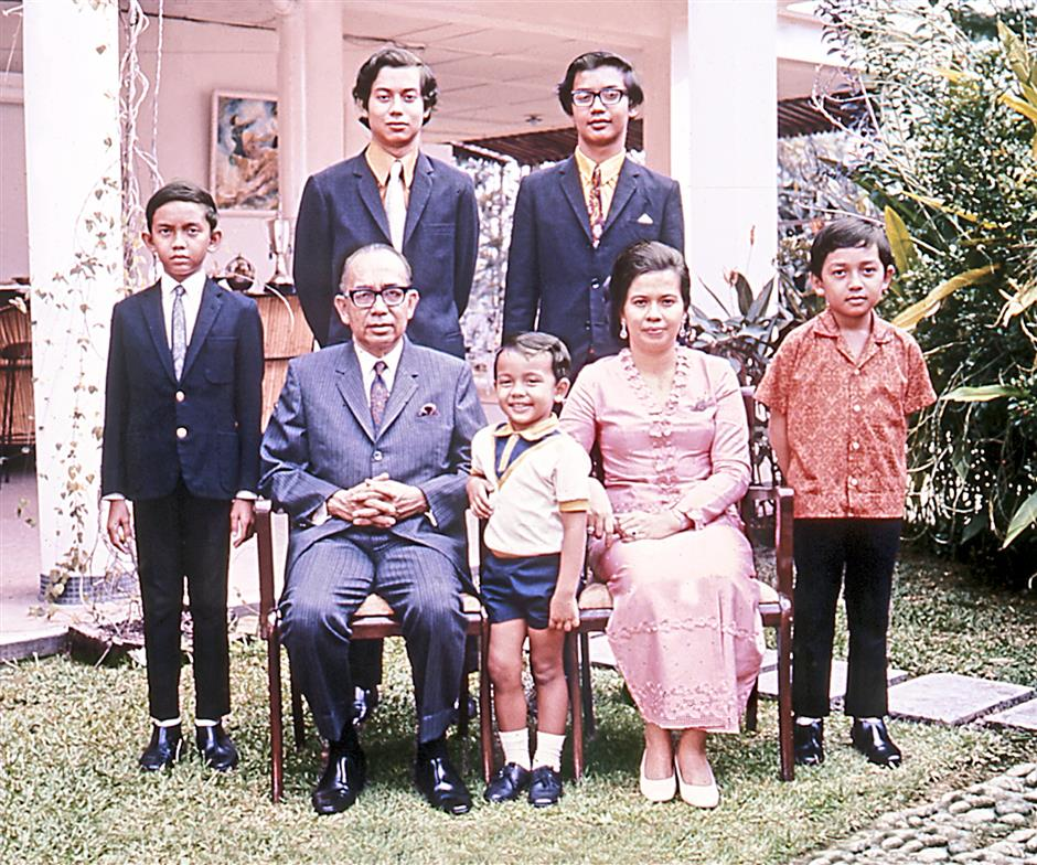 Family portrait...the late Tun Razak Hussein with his young family in 1974.