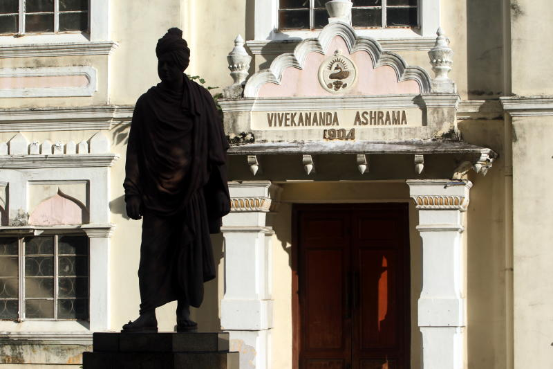 Swami Vivekananda, one of Indiau2019s greatest religious and social philosopher bronze statue stands in front of the iconic building Vivekananda Ashram at Jalan Tun Sambanthan in Brickfields. The ashram was built to honour ivekananda, who visited Malaya in 1893.